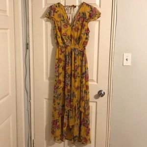 Yellow dress with pink flowers
